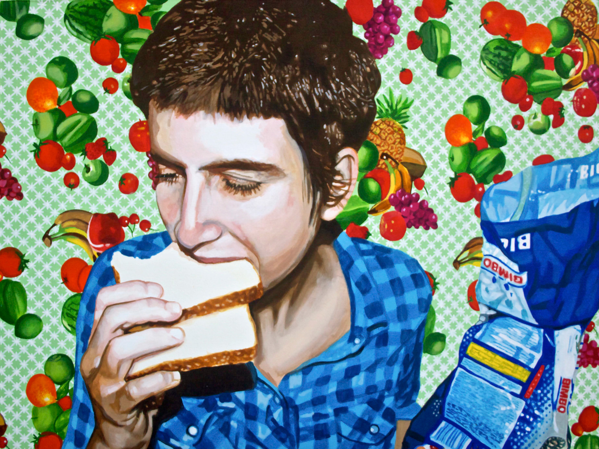 "Self Portrait with Bread No. 5, Home is Where the Heart is, Acrylic on canvas, 36"" x 48"", 2011"