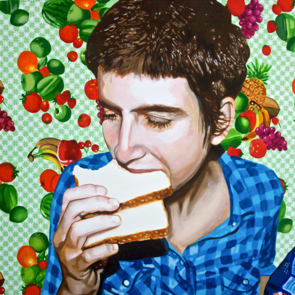 """Self Portrait with Bread No. 5, Home is Where the Heart is, Acrylic on canvas, 36"""" x 48"""", 2011"""