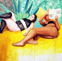 "Girls No. 7, acrylic on canvas, 70"" x 80"", 2019"