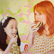 """Ana Lucrecia and Ana Matilde (Mother and Daughter series), Acrylic on canvas, 45"""" x 60"""", 2014"""
