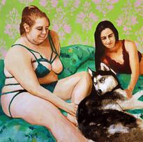 "Girls No. 10, acrylic on canvas, 56"" x 72"", 2019"