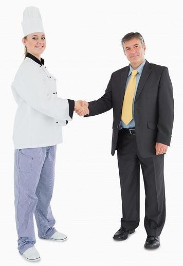 portrait-businessman-female-chef-shaking