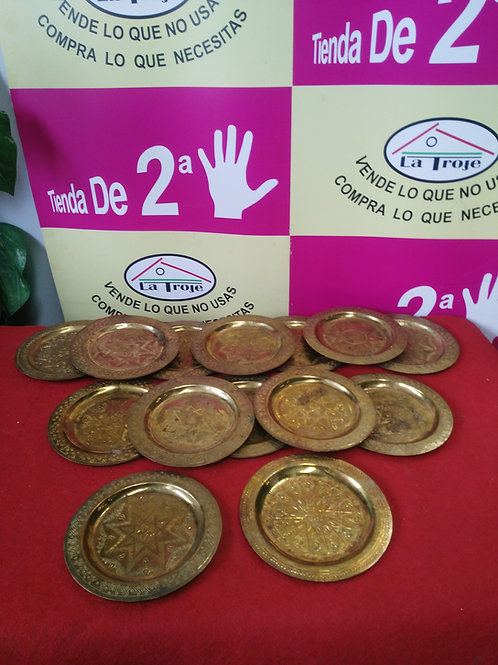 280120 platos cobre laton metal 15cm