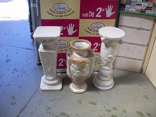 050617 Peanas de ceramica y jarron de ceramica unidad