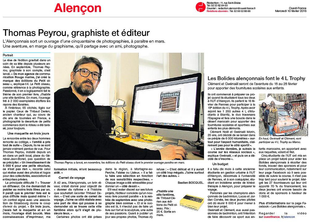 L'Alençonnais sort un ouvrage d'une cinquantaine de photographies, à paraître en mars. Une aventure, en marge du graphisme, qu'il partage avec un ami, auteur des clichés…