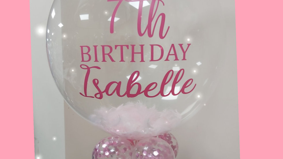 """24 """" Personlised  plain Deco Bubble ( Confetti , Feathers, Gumball or Double )"""