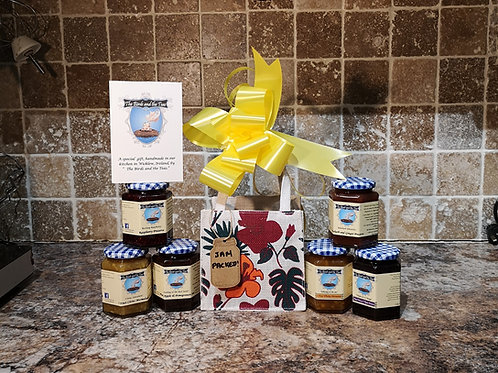 """The Jam Packed"" - Set Pack of 6 Jars including a reusable jute bag"