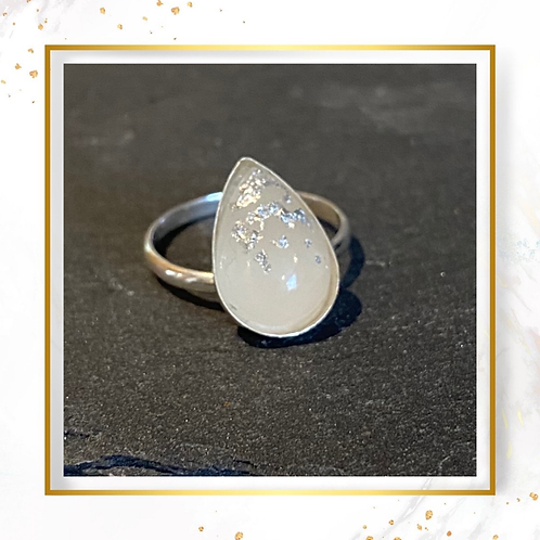 Breastmilk Teardrop Ring with Gold or Silver Flakes