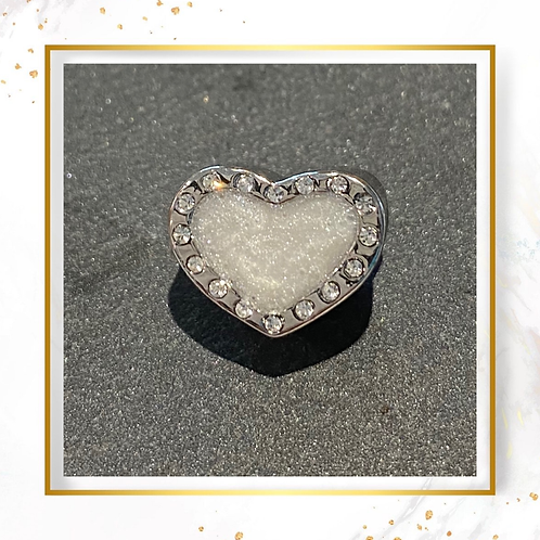 Silver Inclusion Crystal Heart Charm Bead
