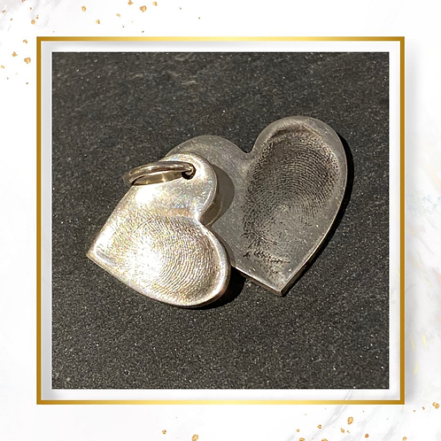 Silver Double Finger Print 2 Hearts Pendant