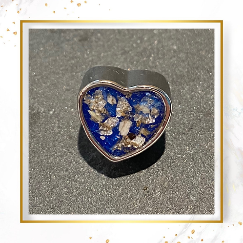 Silver Inclusion Heart Charm Bead