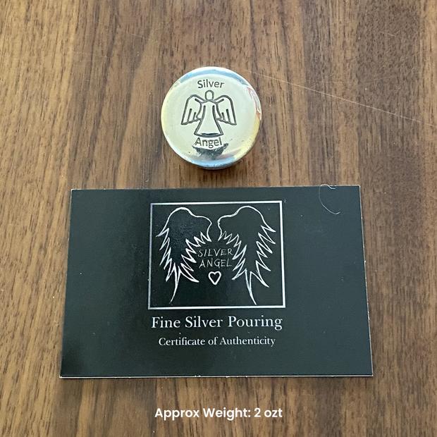 Silver Angel Button Round