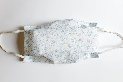 Masque tissu liberty blanc fleurs bleues