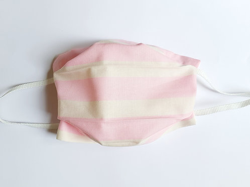 Masque rayures horizontales rose et blanc