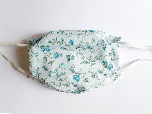 Masque tissu liberty bleu fleurs vertes
