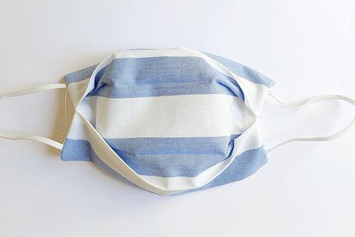 Masque rayé bleu et blanc