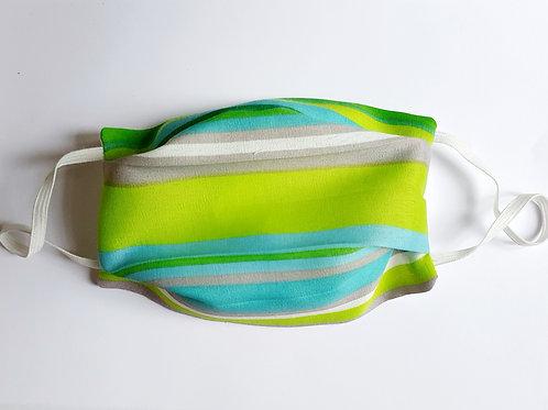 Masque tissu rayé vert