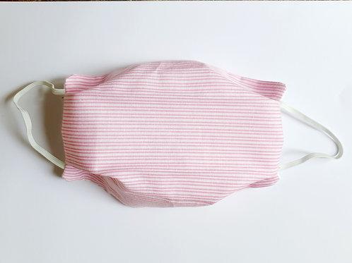 Masque tissu rayé rose