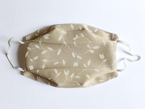 Masque tissu feuille beige