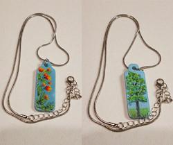 Necklace w blue background