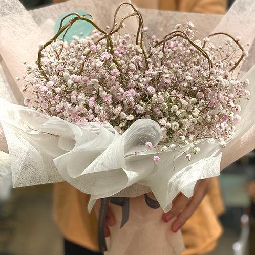Baby's Breath Heart Shaped bouquet