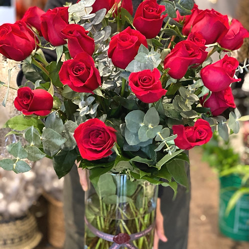 Tow Dozen Roses In a Vase-tall