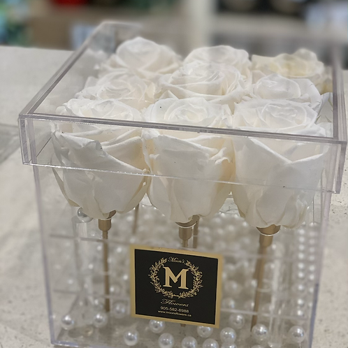 9 Roses Crystal Acrylic Box -white
