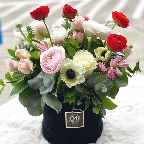 Black Velvet Box Arrangement-Pink box only