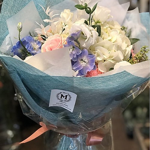 White, Light Pink, and Light blue Bouquet