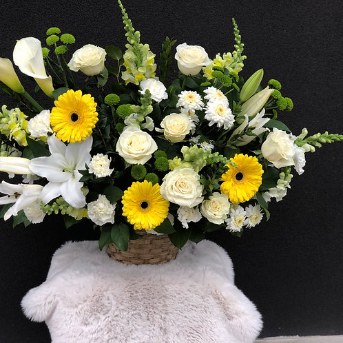 White & Yellow Basket Arrangement