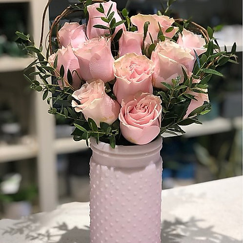 Heart shaped roses in a vase