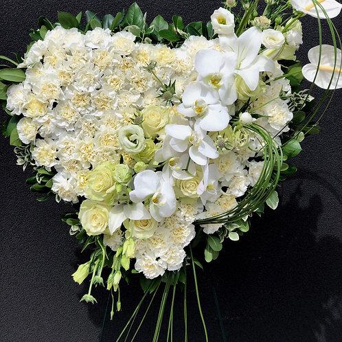 Funeral Heart Wreath White #2
