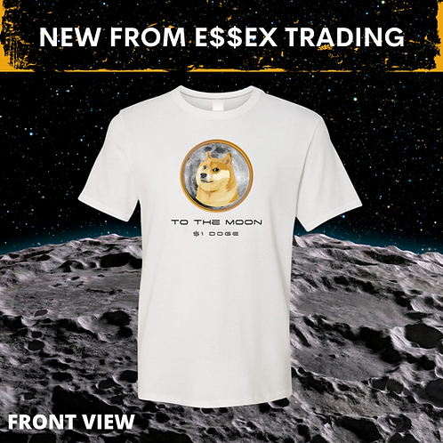 White $1 DOGE Coin To The Moon  Crypto T-Shirt