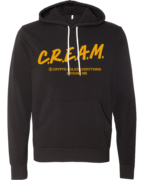 Front of our Bitcoin Crypto C.R.E.A.M. Hoodies with Bitcoin Logo and white drawstrings