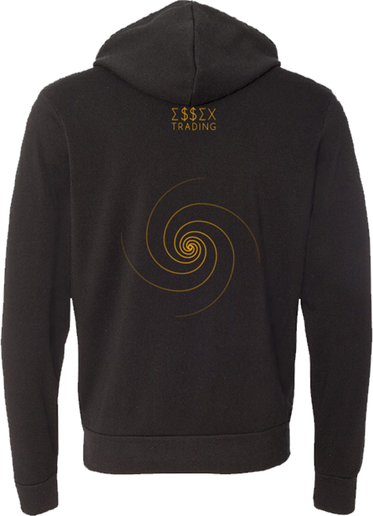 Back of our Bitcoin Crypto C.R.E.A.M. Hoodies with Essex Trading Apparel Logo and Fibonacci Pattern