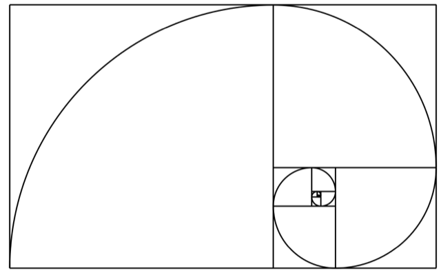 The Fibonacci spiral: an approximation of the golden spiral created by drawing circular arcs connecting the opposite corners of squares in the Fibonacci tiling.