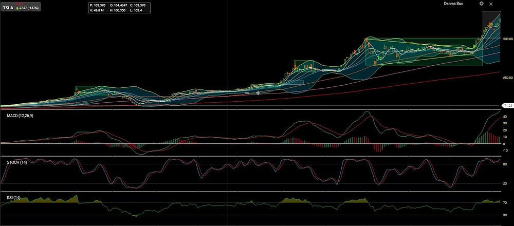 Tesla Daily Chart with key Simple Moving Averages (200 SMA in red)