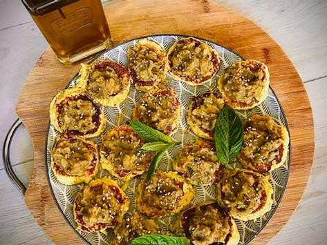 Blinis de pommes de terre et caviar de courgettes/aubergines
