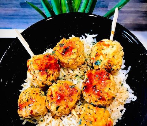 Boulettes de poulet teriyaki & riz basmati