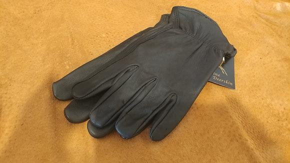 Deerskin Un-Lined Black Gloves-Women's
