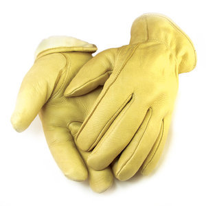 Deerskin Lined-Cream Gloves-Men's