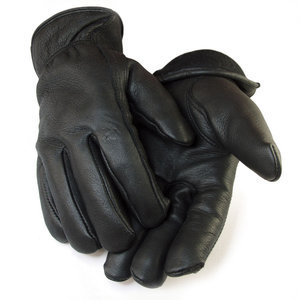 Deerskin Lined Black Gloves-Men's