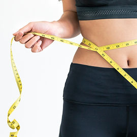 Close up shot of woman with slim body me