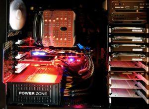 placa de vídeo dentro de uma CPU