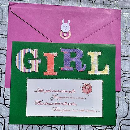 Blank Baby Shower Greeting Card (Girl)