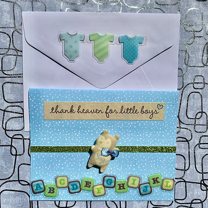 Blank Baby Shower Greeting Card (Boy)