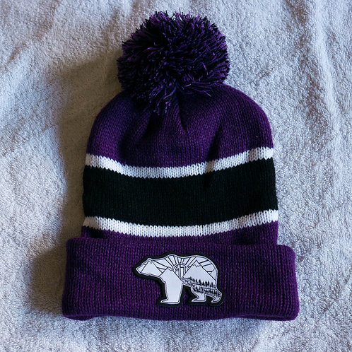 Cuffed Beanie with Ball-Purple/White