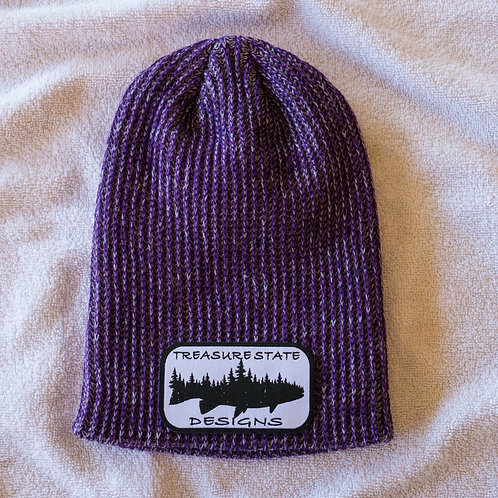 Knitted Uncuffed Purple Beanie