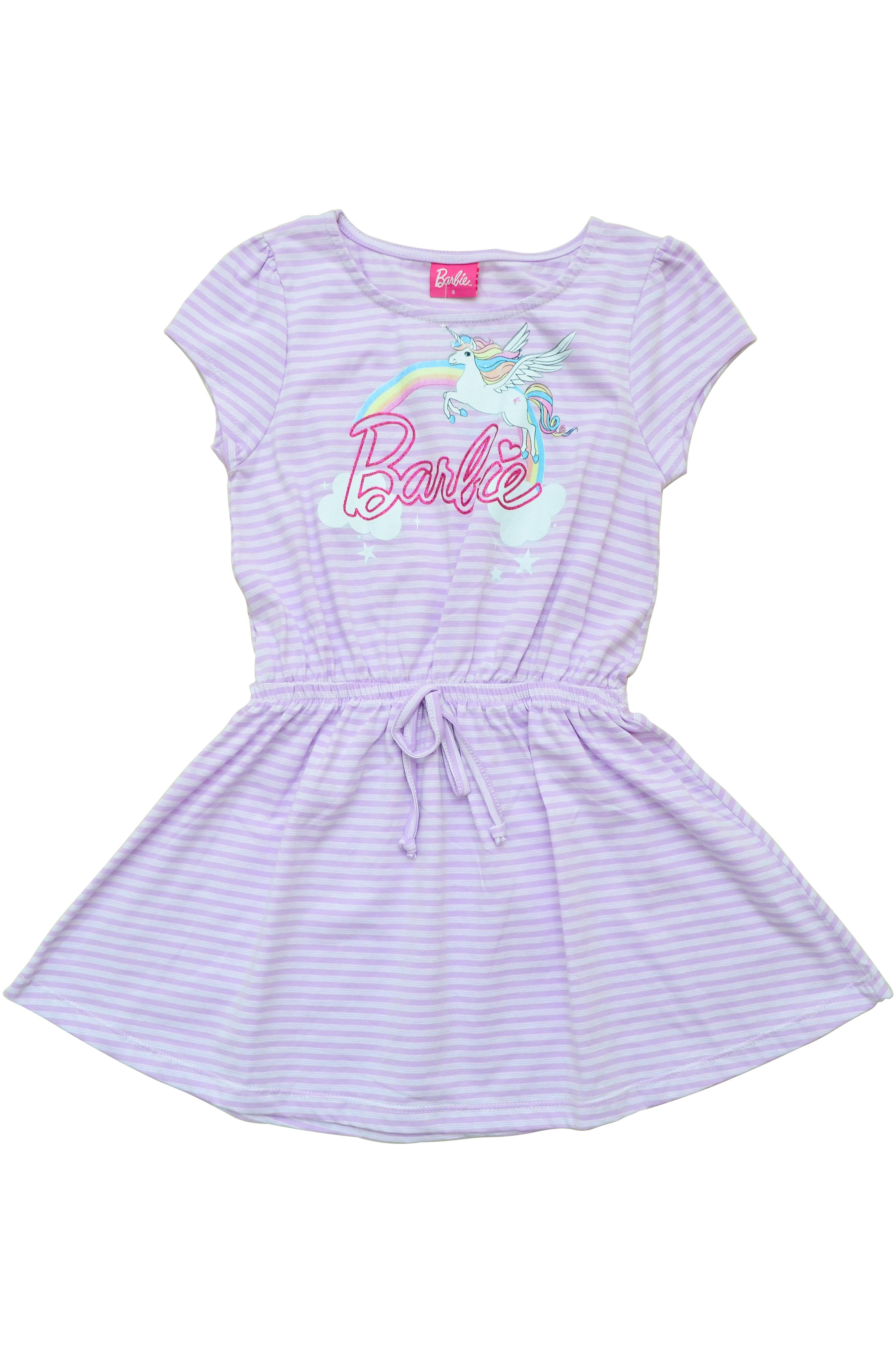 ccb124b2bf8bdd Vestido Listrado Barbie Lilás - Fakini Kids Disney