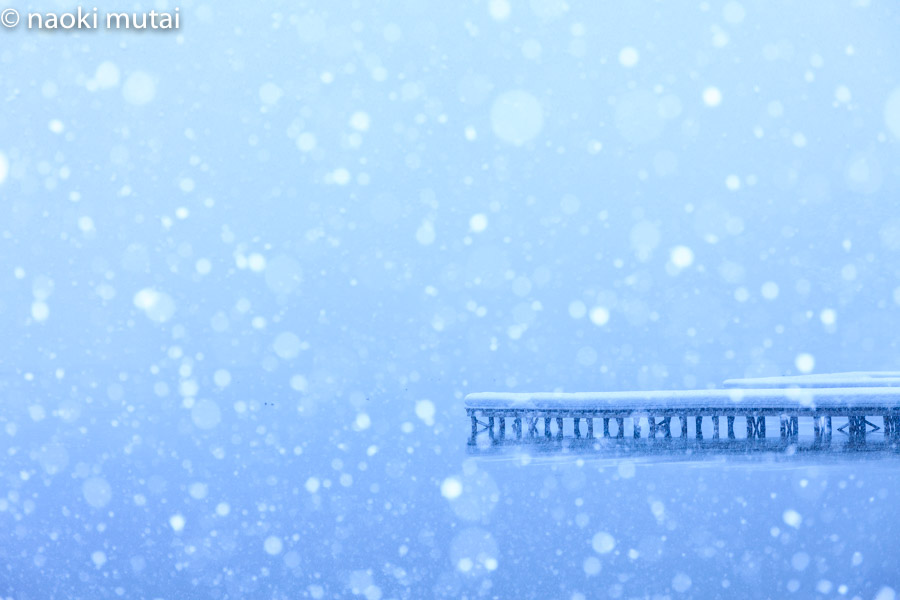 木崎湖と雪